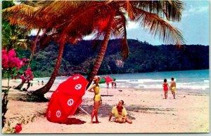 Postally-Used TRINIDAD Postcard Beach Scene Pana American Airways Ad w/ Cancel