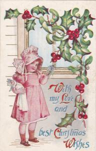 CHRISTMAS: Love & Best Wishes, Girl, bonnet, doll, Holly & Mistletoe, 00-10s