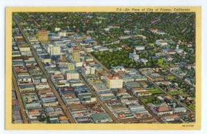 Air View of City of Fresno, California, CA, Linen