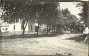 Prescott IA Dirt Road & Homes c1920 Real Photo Postcard