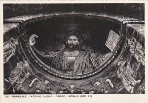 Italy Monreale Interno Duomo Cristo Mosaic Real Photo