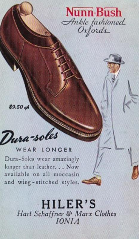 Advertising Nunn-Bush Oxford Shoes Hiler's Hart Schaffner & Marx Clothes...