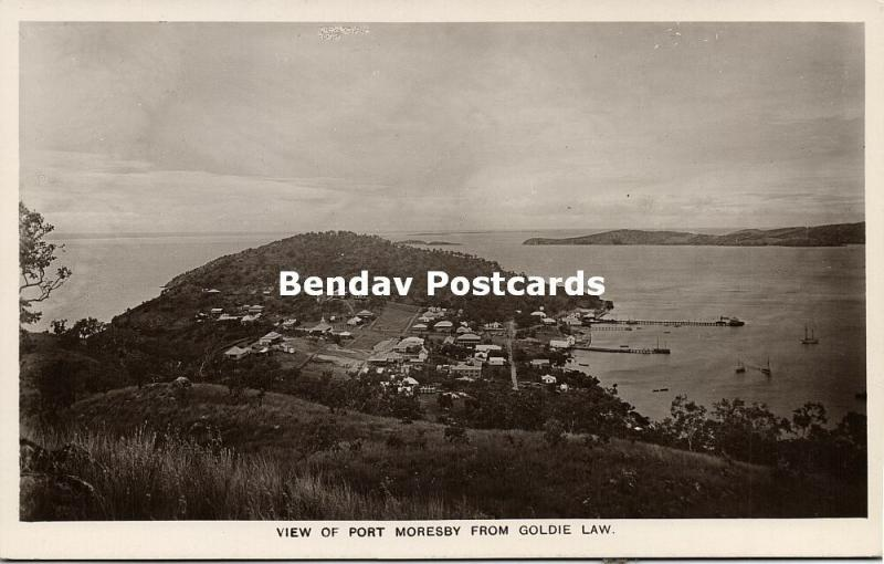 papua new guinea, PORT MORESBY, Panorama from Goldie Law (1910s) RPPC