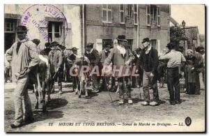 Old Postcard Folklore Scenes walk Brittany Cow