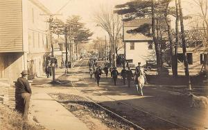 Old Orchard ME 4th of July Parade Police Horse Trolley Tracks RPPC Postcard