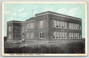Vienna Illinois~Vienna Township High School~1930 Blue Sky Postcard