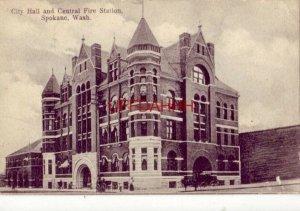 1908 CITY HALL AND CENTRAL FIRE STATION, SPOKANE, WA.