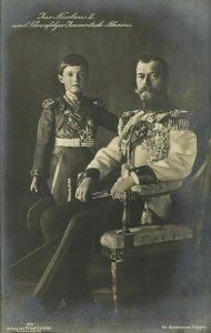 russia, Czar Nicholas II with Tsarevich Alexei Nikolaevich (1912) RPPC Postcard
