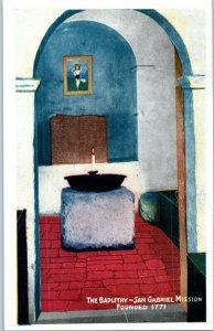 The Baptistry San Gabriel Mission California Postcard