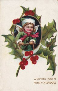 CHRISTMAS, 1900-10s; Cherub in frame of Holly