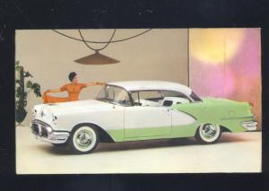 1955 OLDSMOBILE 98 LAWRENCEVILLE ILLINOIS CAR DEALER ADVERTISING POSTCARD