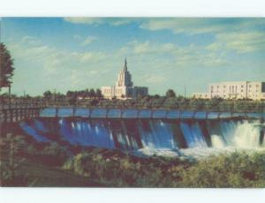 Unused Pre-1980 MORMON TEMPLE AT THE WATERFALL Idaho Falls Idaho ID E4143