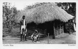 Coolie Hut, Trinidad, Early Real Photo Postcard, Unused