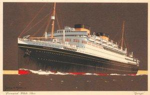 LP51  Ship Cunard Line White Star Georgic Vintage Postcard