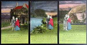 WW1 JUST AS YOU USED TO BE Bamforth Song Cards set of 3 No 4687 1/2/3