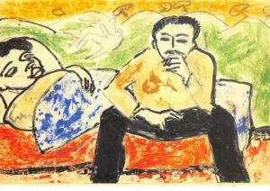 Art Postcard Frau im Bett Mann auf der Bettkante sitzend (1911) E L Kirchner 83U
