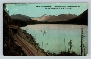 WA-Washington Cascade Mountains Scenic Lake View Railroad Vintage c1913 Postcard