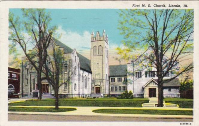 Illinois Lincoln First M E Church 1950 Curteich