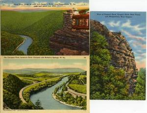 (3 cards) West Virginia Cheat River Gorge - Capacon View - Cooper's Rock - Linen
