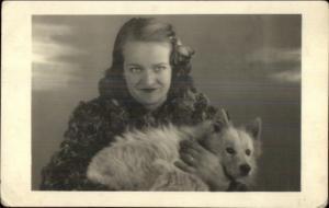 Woman in Make-Up Flower in Hair w/ Dog - Collie? Real Photo Postcard