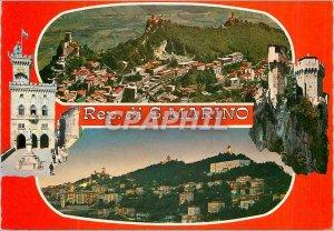 Postcard Modern Repubblica di San Marino view Plane Mount Titano City View Night