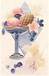 Elegant Easter PC. big fruit bowl in silver chalice. Embossed
