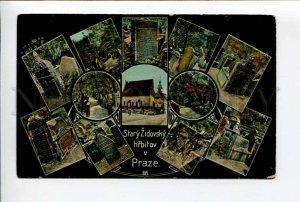 424101 Czech Republic 1908 y Prague old Jewish cemetery synagogue OLD postcard