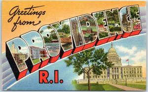PROVIDENCE Rhode Island Large Letter Postcard State Capitol Berger Bros Linen