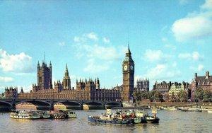 England: Houses Of Parliament London Big Ben chrome Vintage Postcard