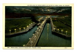 Panama - Canal Zone. Miraflores Locks by Moonlight