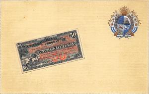 Uruguay South America Paper Money Insignia OPF Publisher Embossed Postcard