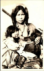 Alaska Eskimo Pie Eskimo Mother Breast Feeding Child Topless Real Photo sk7600
