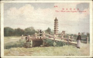Suzhou Soochow China West Lake Pagoda Used Postcard Stamps Cancel 1917