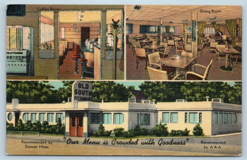 Postcard AR Ft Smith Old South Restaurant Multiview Interior Lunch Counter F24