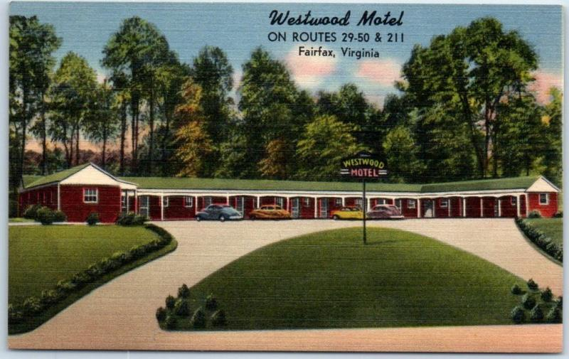 Fairfax, Virginia Postcard WESTWOOD MOTEL Route 29 Roadside Linen c1940s Unused