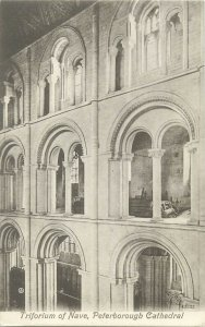 Postcard UK England Peterborough cathedral, Northamptonshire Triforium of Nave