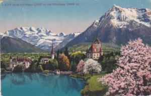 Switzerland Spiez mit Niesen und Bluemisalp 1920