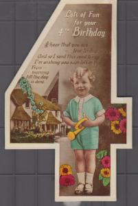 Happy Birthday To Daughter Girl 4x Character Old Greetings Postcard s