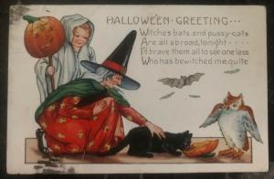 1901 New York Usa Picture Postcard PPC Cover Halloween Greetings