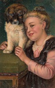 PFB 7686 ; Girl & Dog #1 , 1900-10s
