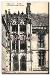 Old Postcard Chateaudun Chateau Staircase Flamboyant Gothic