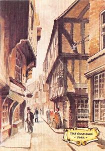 Linen Postcard The Shambles YORK Old English Series by Colourmaster Int. #Y