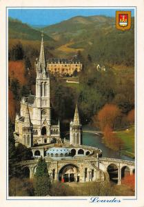 France Lourdes The Basilica seen from the Castle Fort River Bridge Psotcard