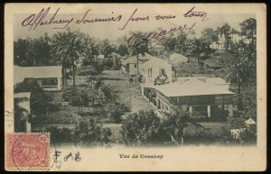 Vue de Conakry, French Guinea. 1905 postcard, mailed from Kindia, Guinea. UDB