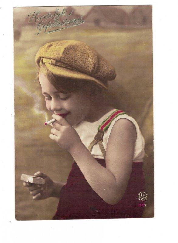 HI1037 NAUGHTY LITTLE BOY SMOKING CIGARETTE AND MATCHBOOK