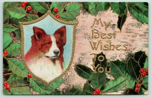 Christmas Collie~Dog Portrait~Holly Berry Back~Tree Bark~Gold Leaf Emboss~c1912