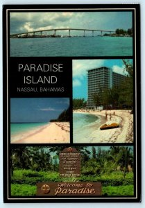 NASSAU, BAHAMAS ~ Multi View PARADISE ISLAND Bridge 1984 - 4x6 Postcard