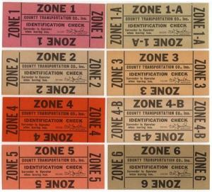 (8) Diff. COUNTY TRANS. CO. Portchester, NY Zone Checks