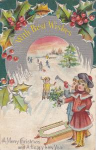 CHRISTMAS: Best Wishes, Holly, Girl, bouquet of flowers, Boy trumpet, 00-10s