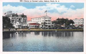 Scene On Sunset Lake, Asbury Park, New Jersey, Early Postcard, Unused